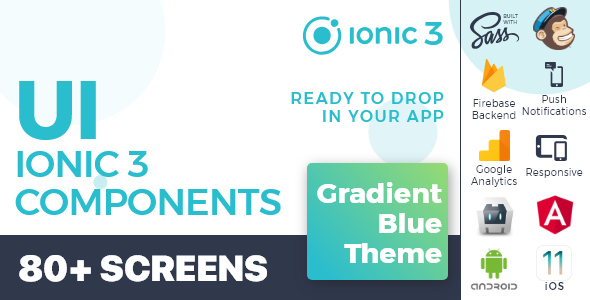 Ionic 3 / Angular 6 UI Theme /  Template App - Multipurpose Starter App - Neon Blue Dark - 2