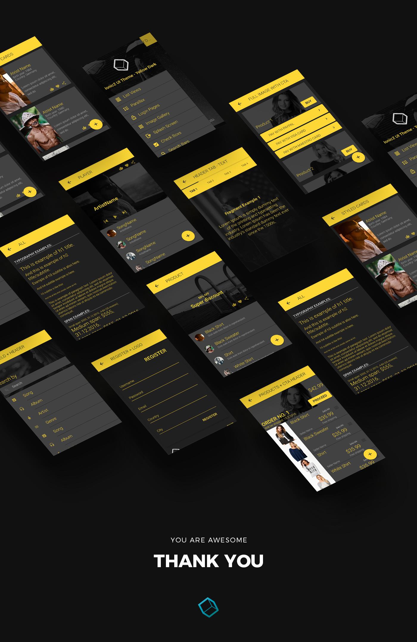 ionic 3 ui theme  template app  u2013 material design  u2013 yellow