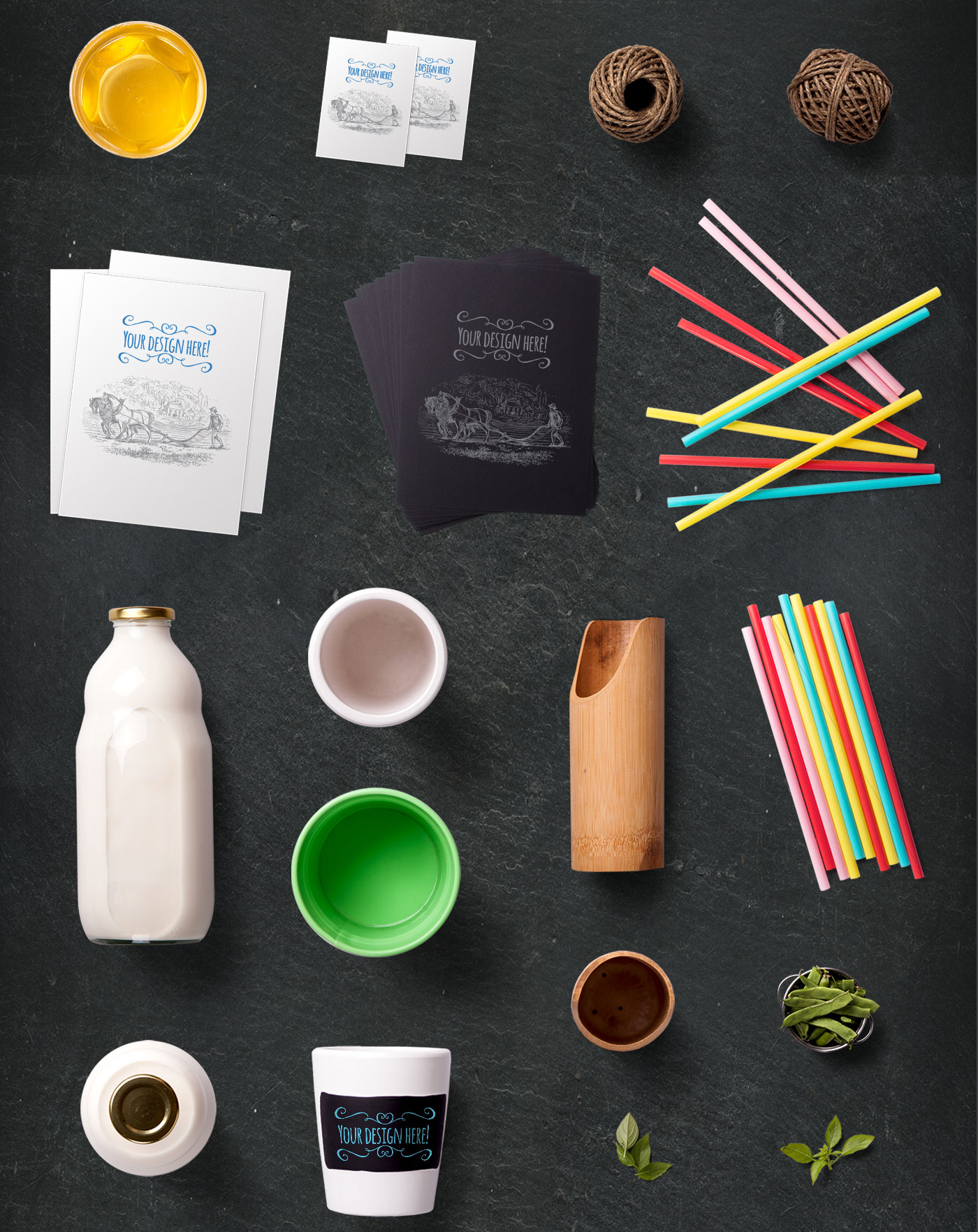 Colorful straws and bottle of milk