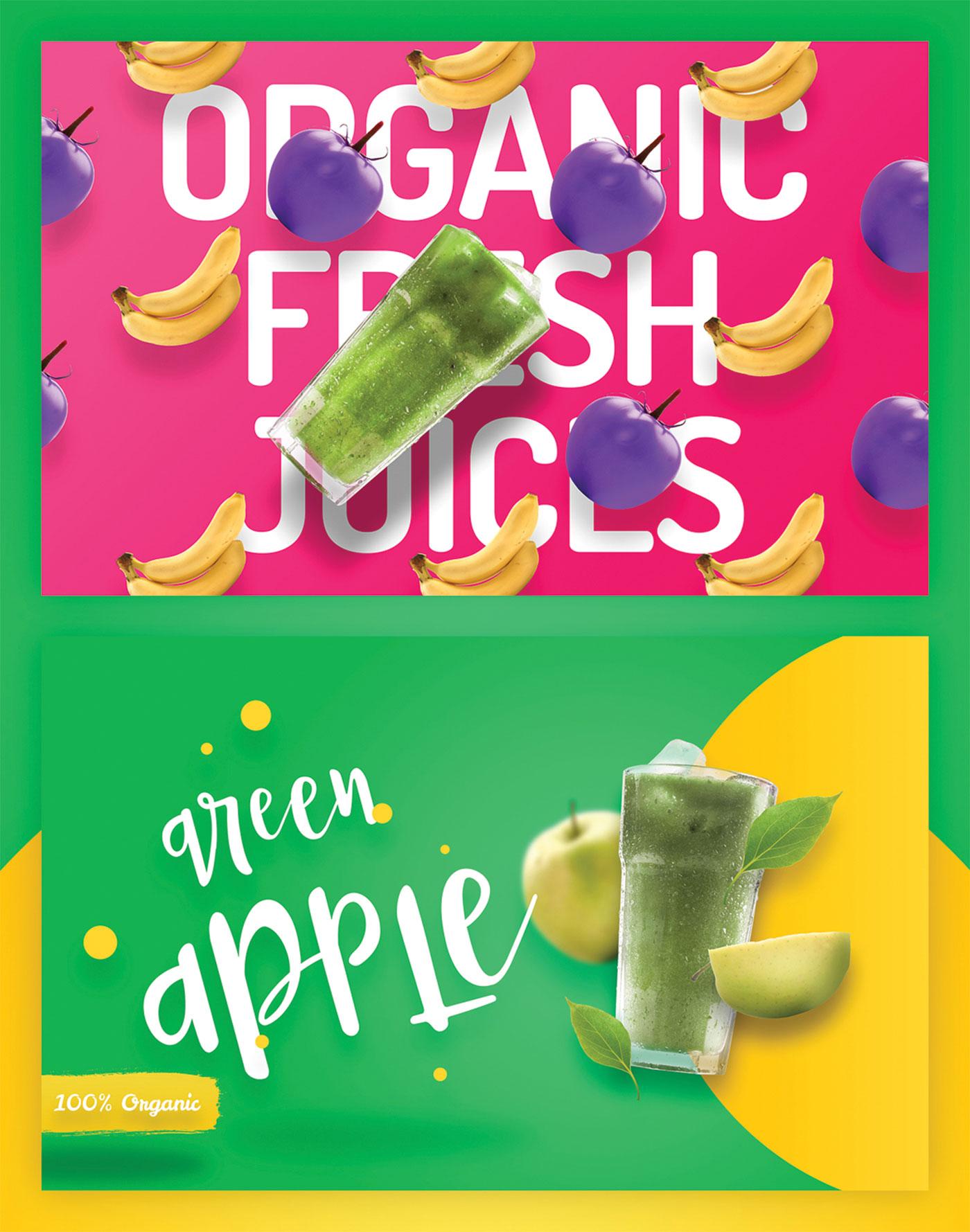 Fresh juice and apple