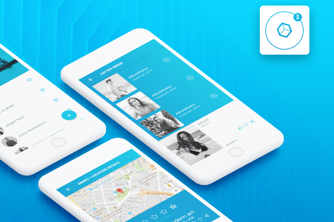 Ionic UI ThemeTemplate App Material Design Blue Light CSForm - Mobile app design templates