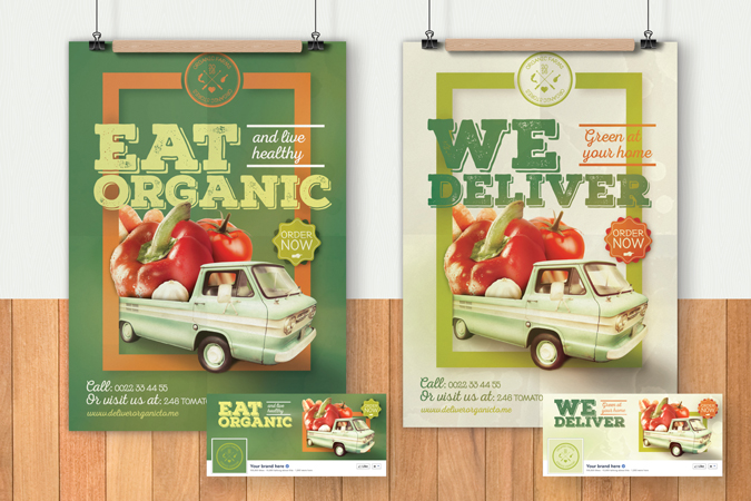 Organic Food Poster Flyer Template – Truck With Vegetables