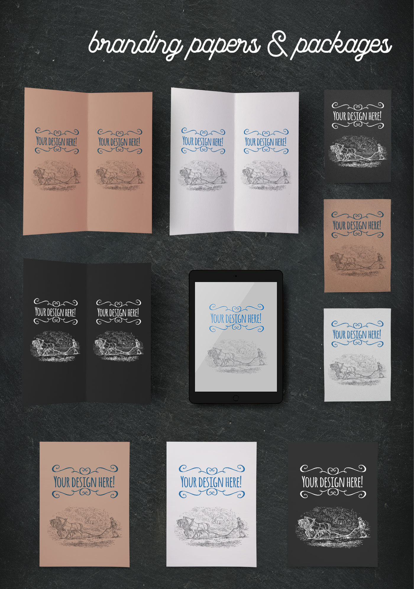 Organic food branding papers and packages