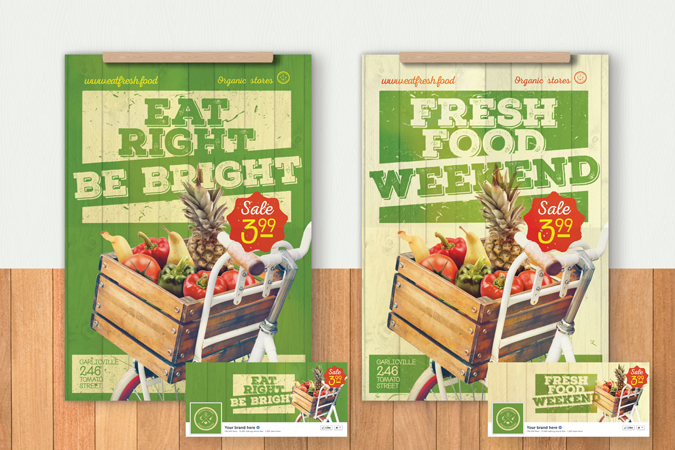 Organic food poster flyer template - Bicycle with vegetables