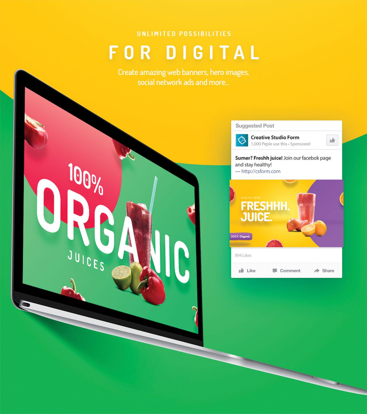 Organic juice and laptop