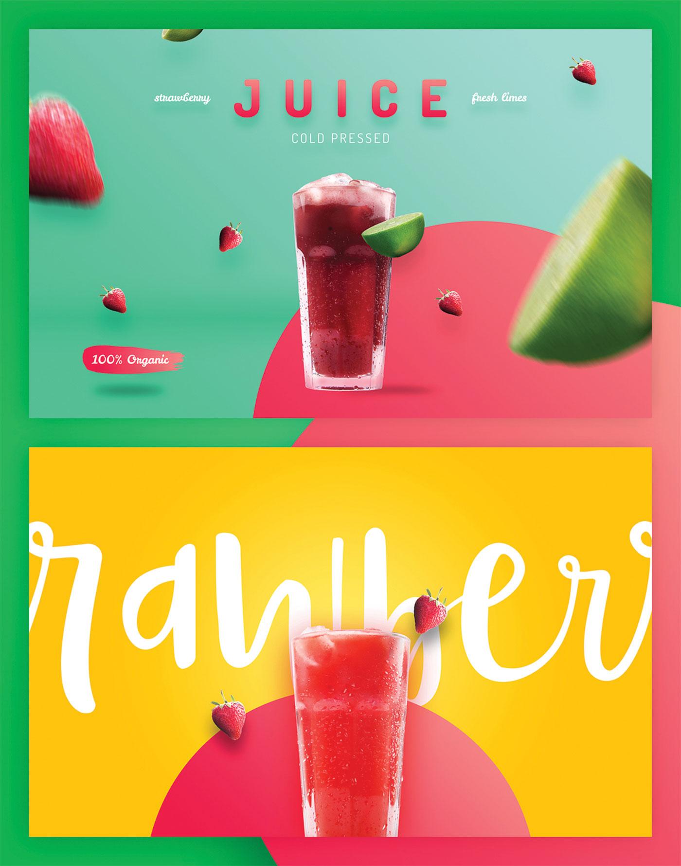 Organic juice and strawberry