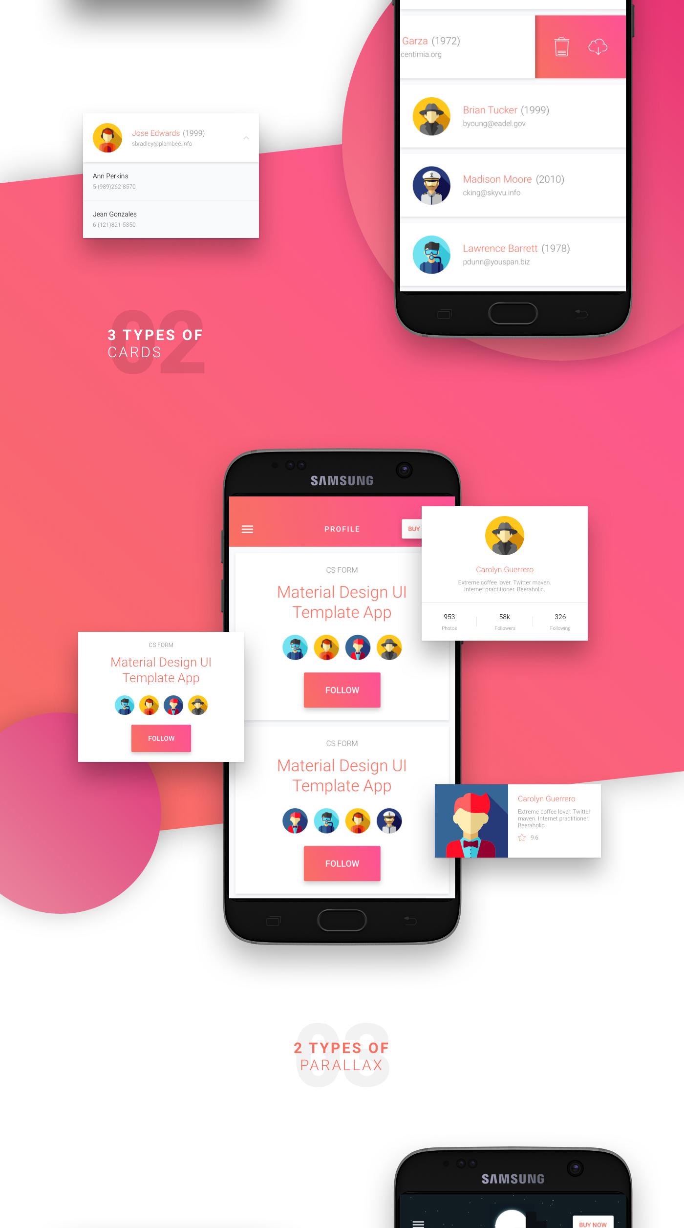Matta – Material Design Android UI Template / Theme App – CSForm