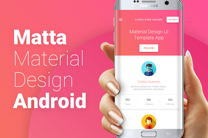 matta material design android ui template theme app csform