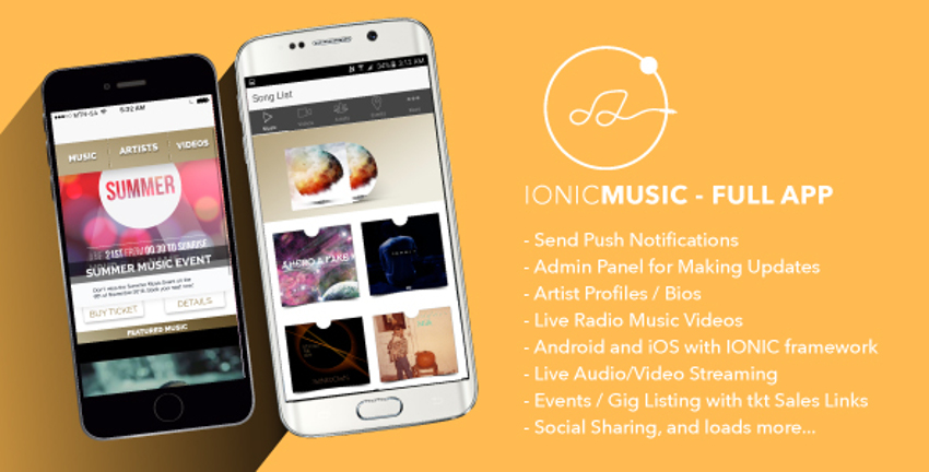 Top 10 Ionic 3 Music-Related Templates | CSForm