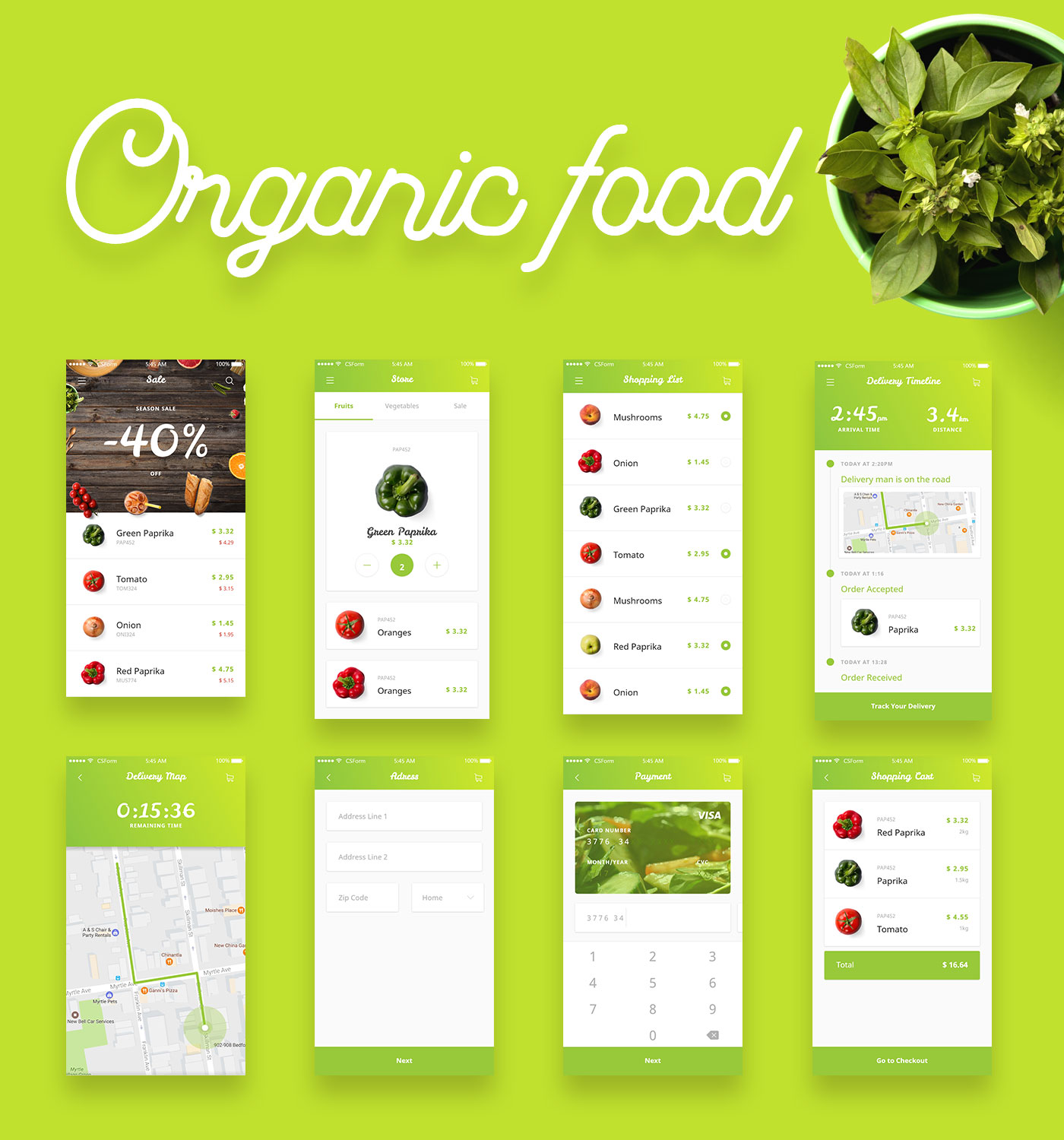Organic Food UI Kit – Free Sample For Adobe Xd – CSForm