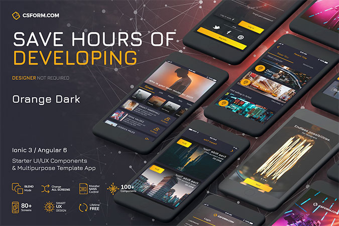 Orange Dark – Ionic 3 / Angular 6 UI Theme / Template App